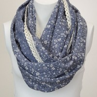 Floral Lace Trim Infinity - Blue