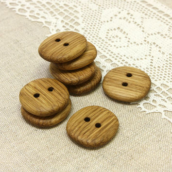 Natural wood buttons. Set of 8 handmade oak wood buttons size 1 in (25mm) - O2209