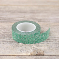 Forest Green Metallic Shimmer Washi Tape / Green Glitter Washi Tape