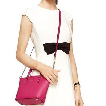 hot sale kate spade new york women fashion shopping pu tote handbag shoulder bag color rose red