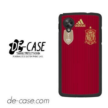 Spain Soccer Jersey For Google Nexus 5 Case Phone Case Gift Present YO