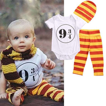 3pcs Newborn Baby Girl Boy Clothes Harry Potter Costume Outfits Romper+Leggings+Hat Toddler Kids Clothing Set  0-18M
