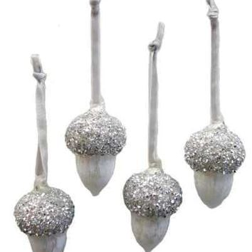 Painted Finish Glass Crystal Valley Oak Acorn Ornament Hand Blown Top Silver White (Set 4)....