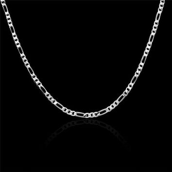 Figaro Chain Curb Silver Plated Male Jewelry 4mm Chains Necklaces Fashion Figaro Chain Necklace for Men Jewelry 16~30 inch