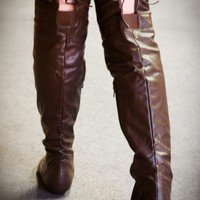 Tammy-79 Brown Thigh High Fold Over Slouchy Flat Boot - Shoes 4 U Las Vegas