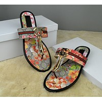 Trendsetter GUCCI Women Casual Fashion Flower Print Sandal Slipper Shoes