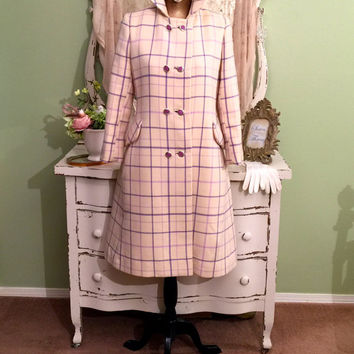 60s Midcentury Coat, 1960s Mod Princess, Plaid Wool Coat, Womens Outerwear, Off White Lavender, Vintage Wool Trench, Womens Size Small
