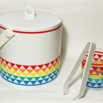 Mid Century Mod Rainbow Ice Bucket Set / Matching Tumbler and Tongs / 1960s Vintage Cocktail Drinks Barware Set / Retro Home Kitchen Decor