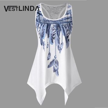 Tank Top Feather Print