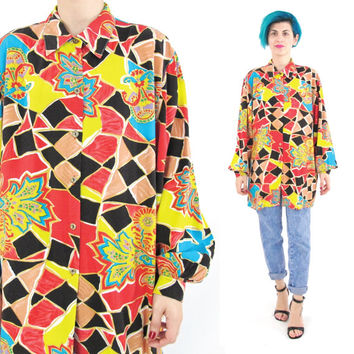 80s Abstract Print Shirt Long Sleeve Blouse Button Down Shirt Collared Bright Colorful Artsy Mens Womens Unisex Shirt Funky Watercolor (M/L)