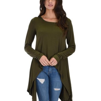 Lyss Loo Shift and Swing Long Sleeve Olive Tunic Top