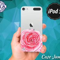 Pink Rose Watercolor Bottom Floral Cute Flower For Rubber Transparent Crystal Clear Custom Case For iPod Touch 5th Generation Gen Accessory