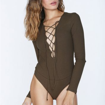 Lace To The Top Ribbed Bodysuit