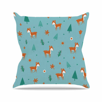 "Cristina bianco Design ""Cute Deer Pattern"" Teal Kids Outdoor Throw Pillow"