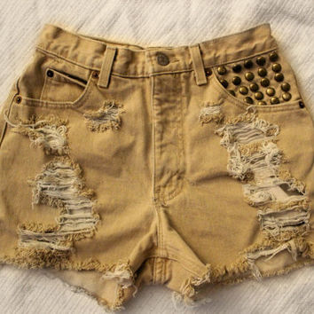 Calvin Klein khaki high waisted distressed shorts