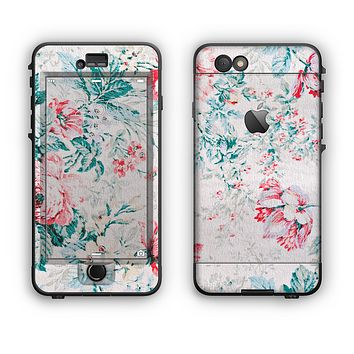 The Coral & Blue Grunge Watercolor Floral Apple iPhone 6 Plus LifeProof Nuud Case Skin Set