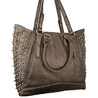 Fabulous & Hot! Spike Studded Shoulder Bag Purse (Dark Silver)
