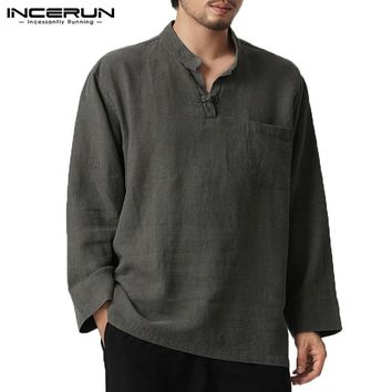 INCERUN Mens T Shirts Mens Shirts V Neck Button Chest Pockets Plain 5XL Camisas Hombre Male Tshirts Tee Pullovers Mens Clothing
