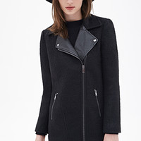 FOREVER 21 Faux Leather & Boucle Coat Black/Black