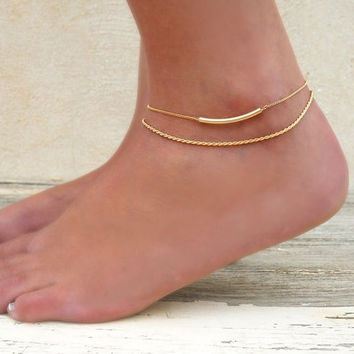 Gold Anklet Set, 2 Gold Anklets - Gold Rope Chain Anklet, Gold Tube Anklet,  Set Of 2 Anklets, Gold Filled Anklet, Layering Gold Anklets