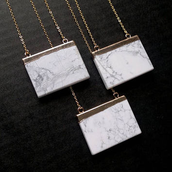Howlite Necklace Howlite Geometric Necklace Howlite Jewelry White Stone Necklace Mineral Necklace Gold White Howlite Pendant Stone Jewelry