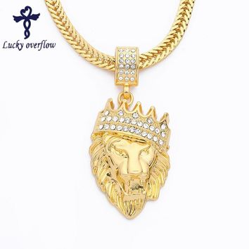 2018 New Fashion Bling-World Men Lion Pendant Necklaces Steampunk Gold Statement Necklace For Men Cuban Chain Hip Hop Jewelry