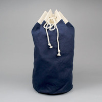 The Arnold Duffle // Navy Blue Canvas Laundry or Duffle Bag with Rope Drawstring and Carrying Handle