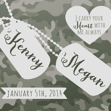 Military Wedding Gift, Custom Present for Army Couple - 8x10 Art Print, Husband Deployment, Marine Wife, Army Print, Camouflage Dog Tags