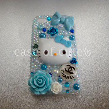 iPhone 4 Case Blue/Teal Kitty Rhinestone Bling Decoden
