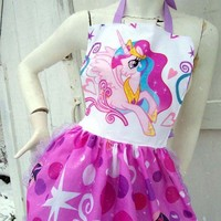 My Little Pony Apron Retro Ruffle Princess Celestia MLP FIM Canterlot | PoppysGardenGate - Accessories on ArtFire