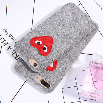 Fashion DIY 3D Cartoon Love Heart Eyes Case For iphone 7 6 6S Plus Cover Luxury Warm Fuzzy flannel Hard PC Phone Cases Shell Hot