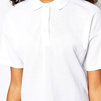 Monki Cropped Polo Shirt