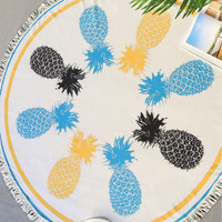 Pineapple Print Fringe Trim Round Beach Blanket