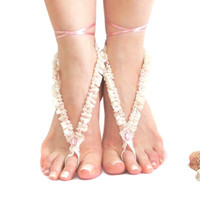 CIJ SALE // Frilly Wedding Crochet Barefoot sandal, Dreamy Wedding Jewelry, Romantic, Something blue, Nude shoes, Foot thong jewelry
