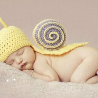 Hot Newborn Baby Crochet Knit Costume Photography Photo Prop Snails Hat Outfit