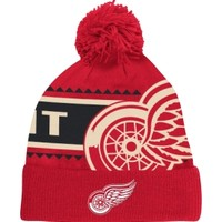 Reebok Men's Detroit Red Wings Red Cuffed Knit Pom Beanie