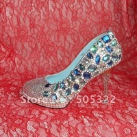 JWS139 Free shipping new arrival crystal high heel platform blue diamond wedding shoes women evning shoes with stone