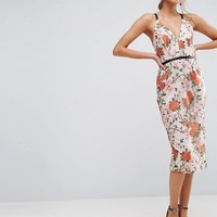 ASOS SALON Embroidered Floral Midi Dress with Contrast Straps at asos.com