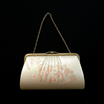 Vintage Japanese Kimono  Clutch - Vintage Clutch - Bridal Clutch -  Pink And Silver Clutch - Flower Clutch  Bridal Purse - Japanese Bag