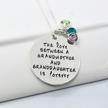 Love Between a Grandmother and Granddaughter is Forever Necklace with Birthstones