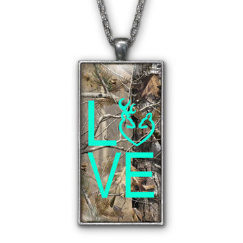 Mint Camo Love Browning Pendant Necklace Jewelry