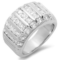 7.00 CT Ladies Princess Cubic Zirconia CZ Wedding Bridal Engagement Ring Set (Available in size 6, 7, 8)