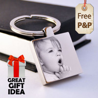 Personalised Square St. Steel Keyring Photo Engraved FREE P&P Father's Day Gift!