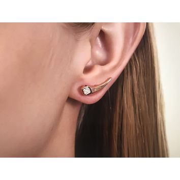14K Rose Gold CT Round Cut Russian Lab Diamond Stud Earrings