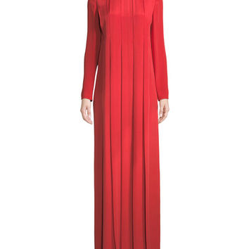 Valentino Long-Sleeve Jewel-Neck Pleated Silk Evening Gown