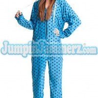 Blue Diva Dots HD - Hooded Footed Pajamas - Pajamas Footie PJs Onesuits One Piece Adult Pajamas - JumpinJammerz.com