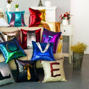 DIY Two Tone Glitter Sequins Throw Pillows Home Decorative PillowCase Cover Reversible Sequin Magical Color Changing Pillows