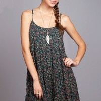 Forest Green Floral Print Ruffle Dress -