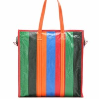 Bazar Medium striped leather tote