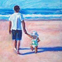 Daddy Daughter Painting, 8 x 10 Original Oil Pastel Painting, Walking with Daddy by Bethany Bryant